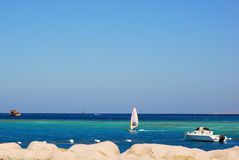 Motor boat on the sea. Colorful landscape of the azure sea with motor boat Stock Photography