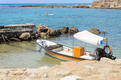 Motor boat in the sea, Caesarea, Israel, 2015 Royalty Free Stock Photo