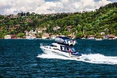 Motor boat and sea front, Bosphorus, Istanbul, Turkey Stock Photos