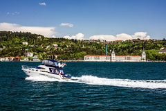 Motor boat and sea front, Bosphorus, Istanbul, Turkey Royalty Free Stock Images