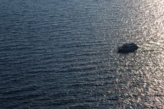 A motor boat in the sea. Photos from a height Stock Photos