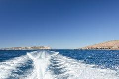 Motor boat ship wake Stock Photography