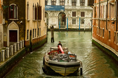 Motor boat on small canal Stock Photography