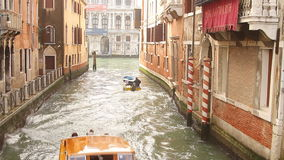 Motor boat on small canal stock footage