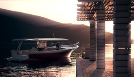 Motor boat on sunset royalty free stock photo