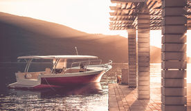 Motor boat on sunset royalty free stock images