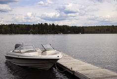 Motor Boat Tied to a Cottage Dock on a Fresh water Lake Stock Photo