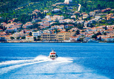Motor boat transfer people to Spetses Royalty Free Stock Photo