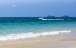 Motor boat trip of tropical sea Stock Photos