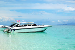 Motor boat on turquoise water of Indian Ocean Royalty Free Stock Images