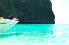 Motor boat on turquoise water of Maya Bay lagoon Royalty Free Stock Photography