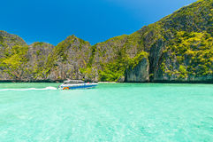 Motor boat on turquoise water Royalty Free Stock Images