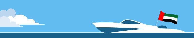 Motor boat with united arab emirates flag stock illustration