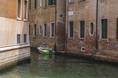 Motor Boat on Venice Canal Royalty Free Stock Photos