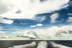 Motor boat water traces in open caribbean sea Royalty Free Stock Images