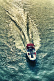 Motor boat on the way. Motor boat on the river driving fast Royalty Free Stock Images