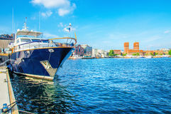 Motor boat in yacht harbour in Oslo, Norway. Luxury motor boat in yacht harbour in Oslo, Norway Royalty Free Stock Image