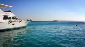 Motor boat or yacht on the Sea. HD stock video footage