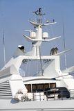 Motor boats. White motor boats near a mooring royalty free stock photos