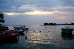 Motor boats at anchor Stock Photo