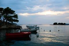 Motor boats at anchor Stock Image