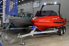 Motor boats Berkut  in the exhibition Crocus Expo in Moscow. Stock Image