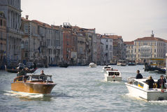 Motor boats on canal in venice, italy Royalty Free Stock Photography
