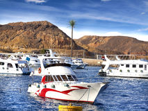 Motor boats by the coast in Egypt. Stock Images