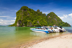 Motor boats on the coast of Phang Nga National Park Stock Photo