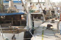 Motor boats for fishing moored at the port.  Royalty Free Stock Photos