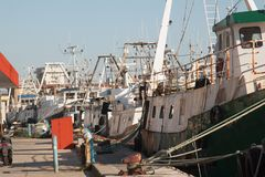 Motor boats for fishing moored at the port.  Royalty Free Stock Photo