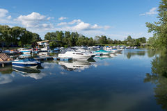 Motor boats in the harbor Stock Photography