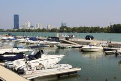 Motor boats in marina River Danube Vienna Austria Royalty Free Stock Photo