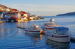 Motor boats, moored to the quay Royalty Free Stock Photography