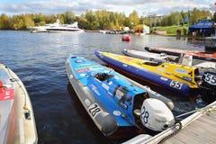 Motor boats at Powerboat Race Show 2012 Royalty Free Stock Photos