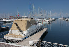 Motor boats and sailboats in harbor in Trieste, Italy Royalty Free Stock Images
