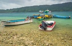 Motor boats at sea coast Stock Photo