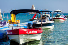 Motor boats in the sea port Stock Photography