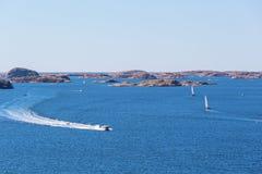 Motor boats at sea Stock Images