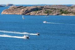 Motor boats at sea Stock Photos