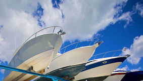 Motor boats on shipyard Royalty Free Stock Photo
