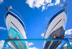 Motor boats on shipyard Royalty Free Stock Image