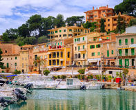 Motor boats and traditional houses in Puerto Soller, Mallorca, S. Motor boats and traditional waterside houses in Puerto Soller, Mallorca, Spain Stock Image