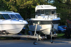 The motor boats on trailers closeup Stock Photos