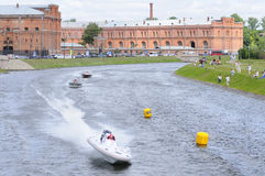 Motor boats in turn of the river. World Championship Endurance Pneumatics Class 1/2/3/4/5 24 hours St.-Petersburg July, 5-6th 2008 Royalty Free Stock Images