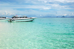 Motor boats on turquoise water of Indian Ocean Royalty Free Stock Photos