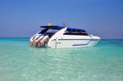 Motor boats on turquoise water of Indian Ocean Stock Image