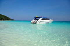 Motor boats on turquoise water of Indian Ocean Stock Photo
