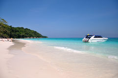 Motor boats on turquoise water of Indian Ocean Stock Images