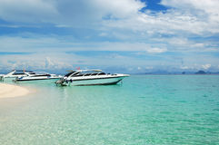 Motor boats on turquoise water of Indian Ocean Royalty Free Stock Image